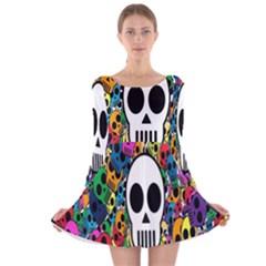 Skull Background Bright Multi Colored Long Sleeve Velvet Skater Dress