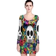 Skull Background Bright Multi Colored Long Sleeve Velvet Bodycon Dress