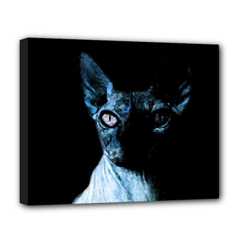 Blue Sphynx cat Deluxe Canvas 20  x 16