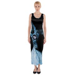 Blue Sphynx cat Fitted Maxi Dress
