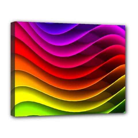 Spectrum Rainbow Background Surface Stripes Texture Waves Canvas 14  x 11