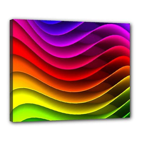 Spectrum Rainbow Background Surface Stripes Texture Waves Canvas 20  X 16