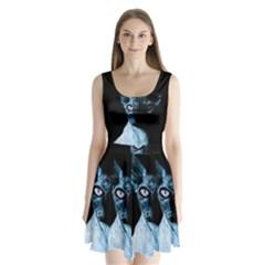 Blue Sphynx cat Split Back Mini Dress