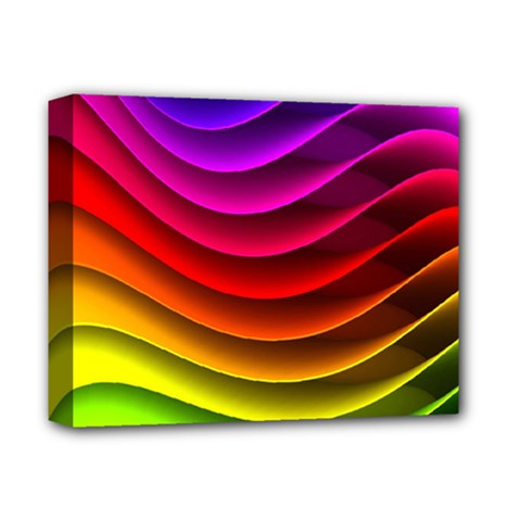 Spectrum Rainbow Background Surface Stripes Texture Waves Deluxe Canvas 14  x 11
