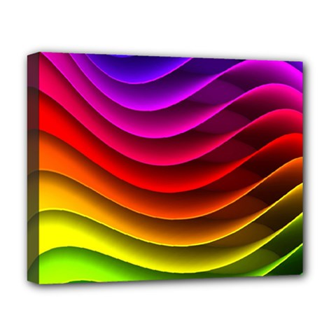 Spectrum Rainbow Background Surface Stripes Texture Waves Deluxe Canvas 20  x 16