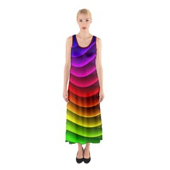 Spectrum Rainbow Background Surface Stripes Texture Waves Sleeveless Maxi Dress