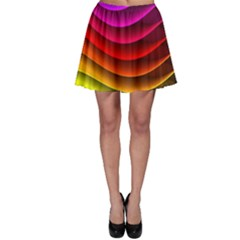 Spectrum Rainbow Background Surface Stripes Texture Waves Skater Skirt
