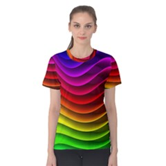 Spectrum Rainbow Background Surface Stripes Texture Waves Women s Cotton Tee