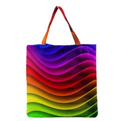 Spectrum Rainbow Background Surface Stripes Texture Waves Grocery Tote Bag