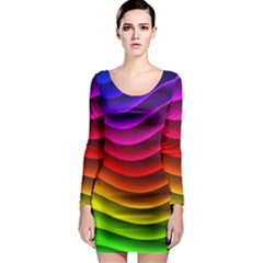 Spectrum Rainbow Background Surface Stripes Texture Waves Long Sleeve Bodycon Dress
