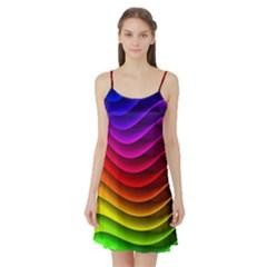 Spectrum Rainbow Background Surface Stripes Texture Waves Satin Night Slip