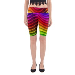 Spectrum Rainbow Background Surface Stripes Texture Waves Yoga Cropped Leggings