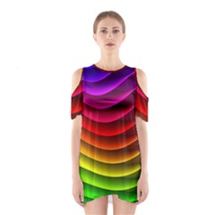 Spectrum Rainbow Background Surface Stripes Texture Waves Shoulder Cutout One Piece