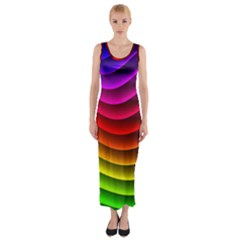 Spectrum Rainbow Background Surface Stripes Texture Waves Fitted Maxi Dress