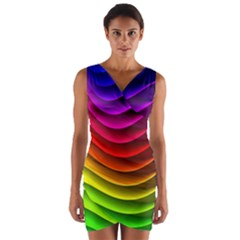 Spectrum Rainbow Background Surface Stripes Texture Waves Wrap Front Bodycon Dress
