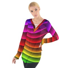 Spectrum Rainbow Background Surface Stripes Texture Waves Women s Tie Up Tee
