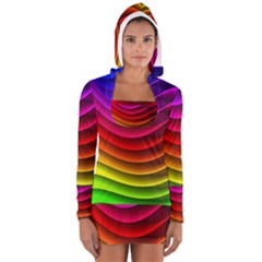Spectrum Rainbow Background Surface Stripes Texture Waves Women s Long Sleeve Hooded T-shirt