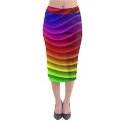 Spectrum Rainbow Background Surface Stripes Texture Waves Midi Pencil Skirt