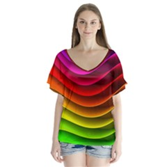 Spectrum Rainbow Background Surface Stripes Texture Waves Flutter Sleeve Top