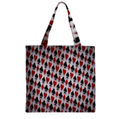 Suit Spades Hearts Clubs Diamonds Background Texture Zipper Grocery Tote Bag