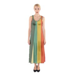 Texture Stripes Lines Color Bright Sleeveless Maxi Dress