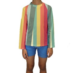 Texture Stripes Lines Color Bright Kids  Long Sleeve Swimwear