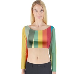 Texture Stripes Lines Color Bright Long Sleeve Crop Top