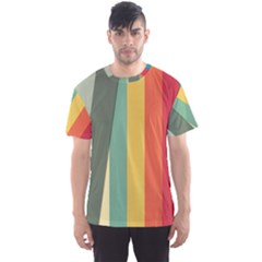Texture Stripes Lines Color Bright Men s Sport Mesh Tee