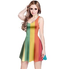 Texture Stripes Lines Color Bright Reversible Sleeveless Dress