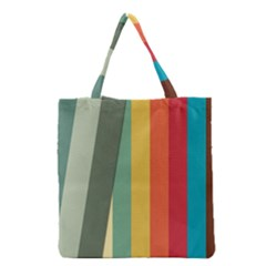 Texture Stripes Lines Color Bright Grocery Tote Bag