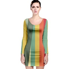 Texture Stripes Lines Color Bright Long Sleeve Bodycon Dress