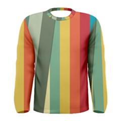Texture Stripes Lines Color Bright Men s Long Sleeve Tee