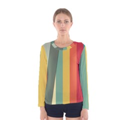 Texture Stripes Lines Color Bright Women s Long Sleeve Tee