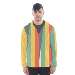 Texture Stripes Lines Color Bright Hooded Wind Breaker (Men)
