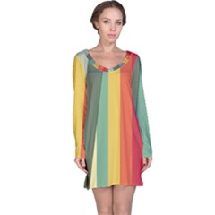 Texture Stripes Lines Color Bright Long Sleeve Nightdress