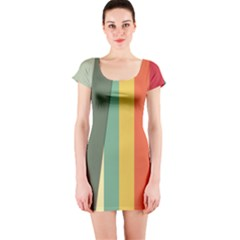 Texture Stripes Lines Color Bright Short Sleeve Bodycon Dress