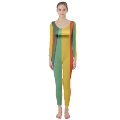 Texture Stripes Lines Color Bright Long Sleeve Catsuit