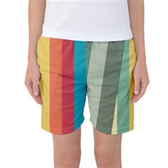 Texture Stripes Lines Color Bright Women s Basketball Shorts