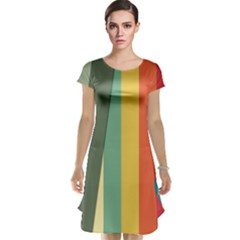 Texture Stripes Lines Color Bright Cap Sleeve Nightdress