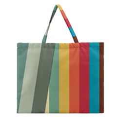 Texture Stripes Lines Color Bright Zipper Large Tote Bag