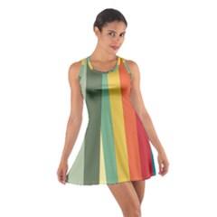 Texture Stripes Lines Color Bright Cotton Racerback Dress