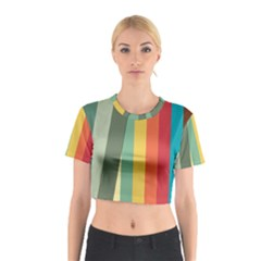 Texture Stripes Lines Color Bright Cotton Crop Top