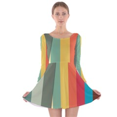 Texture Stripes Lines Color Bright Long Sleeve Velvet Skater Dress