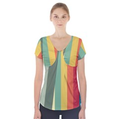 Texture Stripes Lines Color Bright Short Sleeve Front Detail Top