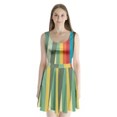 Texture Stripes Lines Color Bright Split Back Mini Dress