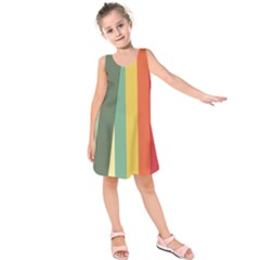 Texture Stripes Lines Color Bright Kids  Sleeveless Dress