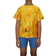 Yellow Neon Flowers Kids  Short Sleeve Swimwear