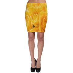 Yellow Neon Flowers Bodycon Skirt