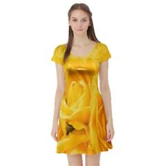 Yellow Neon Flowers Short Sleeve Skater Dress
