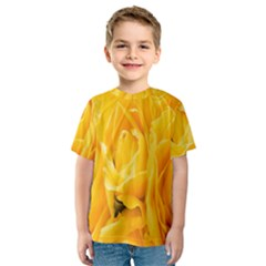 Yellow Neon Flowers Kids  Sport Mesh Tee